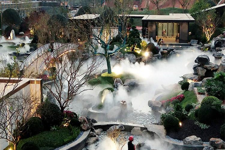景观人造雾,售楼部花园人造雾,景观造雾